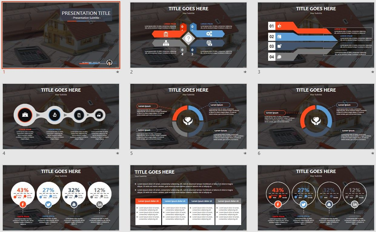 Free blueprints powerpoint template 33 architecture toneelgroepblik Choice Image
